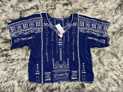 NWT Johnny Was Jurnee Crop Top Embroidered Elbow Sleeve Blue Night Boho Size S $124.99