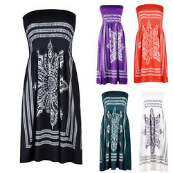 Womens Summer Boho Off Shoulder Bandeau Mini Dress Beach Holiday Sun Dresses $15.19