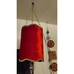 "Vintage Gothic Red an Gold Velvet Hanging Swag Lamp 22"" Shade w MetalChain Works"