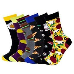 Fun Socks For Men 6 Pack Funny Colorful Novelty Crazy Patterned Crew Dress Food $19.07