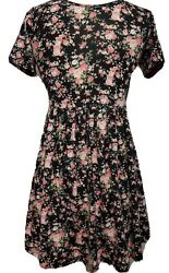 Pink Floral Flowers Womens Mini Dress Black Sleeves Adult Forever21