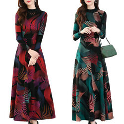 Women#x27;s Boho Floral Long Sleeve Maxi Dress Casual Party Cocktail Fashion Dress $15.76