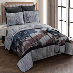 Grey Cotton Queen Quilt Set 3 Piece Reversible Rustic Bedroom Linen Home Decor $276.99