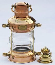 Nautical Brass amp; Copper Polished Anchor Lantern Hanging Lamp Home Decorative $92.00