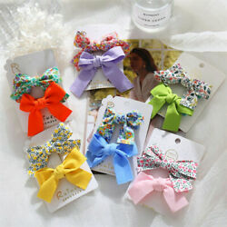 2Pcs Set Women Kid Baby Girl Bow Hair Clip Flower Barrette Pins Clip Accessories C $2.56