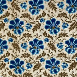Antique fabric French 19th century cotton Prussian blue floral design RUFFLE $99.00
