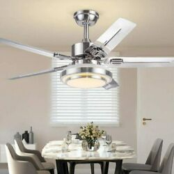 52quot;Remote Reversible Ceiling Fan Lamp LED Light Stainless Chandelier Steel Quiet $167.39