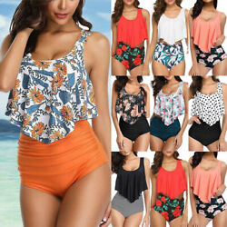 Women High Waisted Ruffled Tummy Control Tankini Set Swimwear Beachwear Swimsuit $15.57