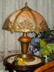 ANTIQUE SLAG GLASS 6 PANEL ELECTRIC TABLE LAMP GREAT FILIGREE $675.00
