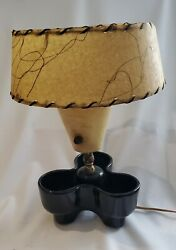 Vintage ceramic Lamp With Leather Shade $60.00
