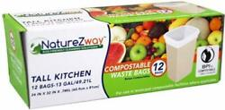Compostable 13 Gallon Tall Kitchen Waste Bags by Naturezway 12 Bags 1 pack $11.63