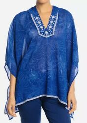 Tommy Bahama Swimsuit Hooded Cover Up.Ombra Blossoms Kaftan. Sz LRG. NWT $49.95