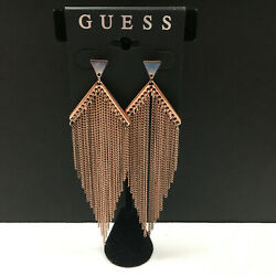 New GUESS quot;Camilla Tasselquot; Long Chain Chandelier Earrings Rose Gold OO139E $19.99
