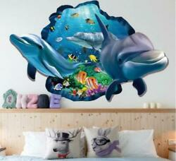 Huge Wall decal Sticker Ceiling Floor Dolphin 3D living room bedroom Bathroom $8.08