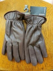 MURANO DEERSKIN LEATHER GLOVES Brown MEDIUM NEW WITH TAG Originally $65.00 $24.95