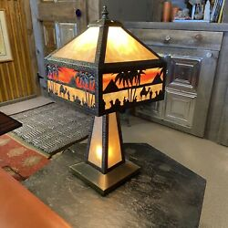 Antique Slag Glass Egyptian Lamp With 3 Levels Of Illumination. $599.00