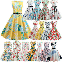 Women 50s 60s Hepburn Vintage Rockabilly Evening Prom Summer Swing Party Dress $14.62