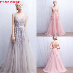 DHL Women Sleeveless V Neck Long Evening Party Gown Formal Backless Tulle Dress $69.99