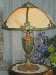 ANTIQUE SLAG GLASS 6 PANEL ELECTRIC TABLE LAMP SIGNED MILLER $675.00