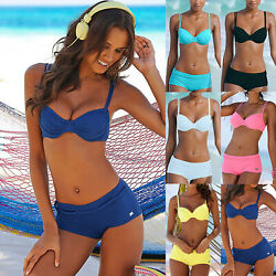 Womens Push Up Bikini Set Boy Shorts Padded Swimsuit Swimwear Bathing Suit Size $14.91