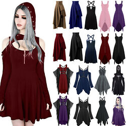 Women Vintage Gothic Punk Hooded Mini Dress Carnival Cosplay Party Fancy Dresses $25.17