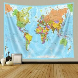 World Map Tapestries Wall Art Hanging for Bedroom Living Room Dorm 36x24 $9.29