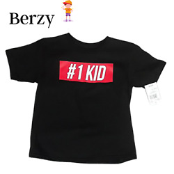 BERZY Boys Funny Number One Kid T Shirt Black and Red Size 5T $6.99