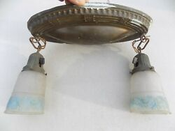 SOLID BRASS Victorian HANGING CEILING LIGHT Pendant FIXTURE Glass Shades $75.00
