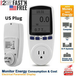 LCD Power Consumption Energy Watt Amps Volt Meter Electricity Monitor Analyzer $12.99