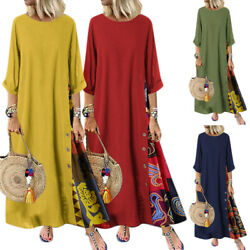 Womens Floral Maxi Dress Loose Long Sleeve Round Neck Swing Sundresses Casual $23.74