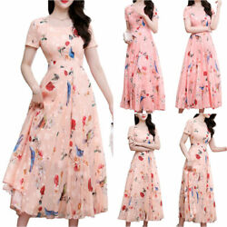 Womens Floral Printed Party Long Maxi Dress Summer Casual Beach Holiday Sundress $18.61