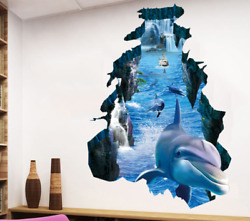 Big Wall decal Sticker Ceiling Floor Dolphin 3D living room bedroom Bathroom New $9.99