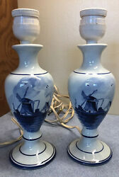 Pair Vintage Delft Marked Small Lamps Holland Scene of Windmill9quot; $20.00