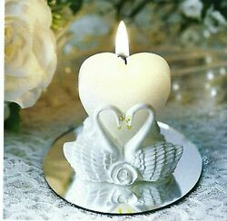 1 Novelty Candle White Swan Heart Votive Candle Great 4 Weddings or A Loved One $9.99