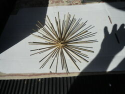 Mid Century Atomic Gold Metal Starburst Sea Urchin Wall Hanging MCM Decor 12quot; $34.99