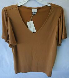NWT Target quot;A New Dayquot; Women#x27;s Short Sleeve V neck Top Size M Rust $9.00