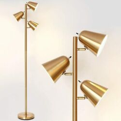 HAITRAL Adjustable Floor Lamp with 3 Light for Living Room Gold Without Bulb $49.99