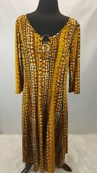 Sami amp; Jo Plus Maxi Dress Women Size 1X 3 Ring Bling Golds and Browns $28.00