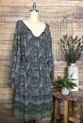 Sophie Max Gray Peasant Tunic Dress Floral Printed Sun Dress Boho SZ M Medium $10.99