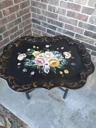 LG Vintage Tole Toleware Tray HP Pink Roses Phil Pa Sticker 25x20 Table VGC $174.50