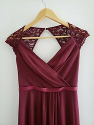Davids Bridal Long Bridesmaid Dress with Lace Cap Sleeve Red Merlot Wine Size 0