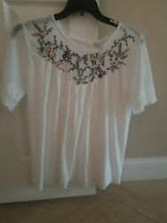 Lucky Brand Top White Short Sleeve Embroidery Boho Size L $17.99