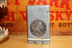 Vintage Table Cigarette LIGHTER With 1780 Habsburg Silver Coin Maria Theresia $125.00