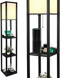 New 3 in 1 3 Tiered Shelf Floor LED Lamp 2 USB Ports 1 Power Outlet Black $82.89