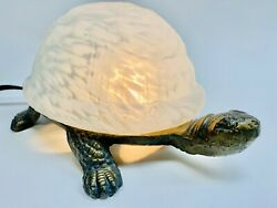 VINTAGE TURTLE GLASS LAMP TORTISE SHELL LIGHTS UP $14.99