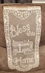 Lace Bless This Home wall hanging looks antique with wood and metal wiring. $14.00