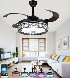 42quot; Modern Invisible Ceiling Fan Bluetooth LED Color Change Music Chandeliers $175.66