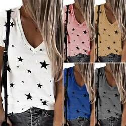 Womens Star Print Short Sleeve V Neck T Shirt Summer Casual Loose Blouse Top Tee $15.95
