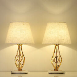 Set of 2 Gold Vintage Nightstand Table Lamps Marble Base amp; Linen Fabric Shade $42.99