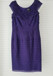 Adrianna Papell Women Dress Sleeveless Tiered Formal Cocktail Purple Lined Sz 6 $21.98